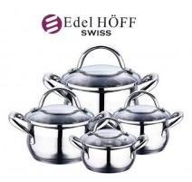 """Šveicariškas """"EDEL HOFF SWISS"""" 8 dalių puodų rinkinys"""